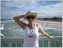 Strandspaziergang am ersten Tag nach dem Camp, Dschungel-Camp, Michaela Schaffrath, Schauspielerin, Moderatorin, Australien, Internet, Website, Bilder, Eindrücke
